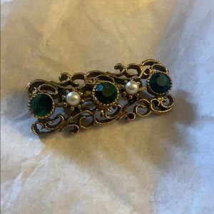 Antique Goldtone Brooch w/Emerald & Pearl Accents